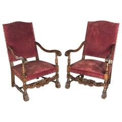 Pair of 19th Century French Louis XIII Fauteuils, Armchairs