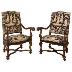 Pair of 19th Century French Louis XIV Armchairs with Tapestry