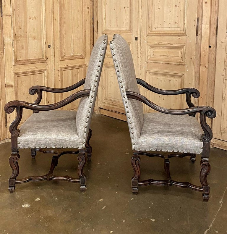 Pair of 19th Century French Louis XIV Walnut Fauteuils or Armchairs For Sale 5