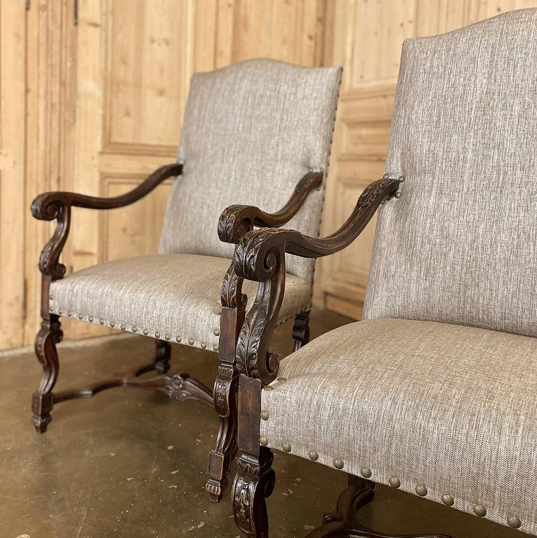 Pair of 19th Century French Louis XIV Walnut Fauteuils or Armchairs For Sale 7