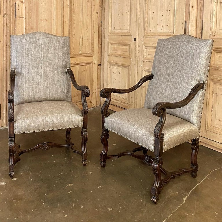 Hand-Crafted Pair of 19th Century French Louis XIV Walnut Fauteuils or Armchairs For Sale