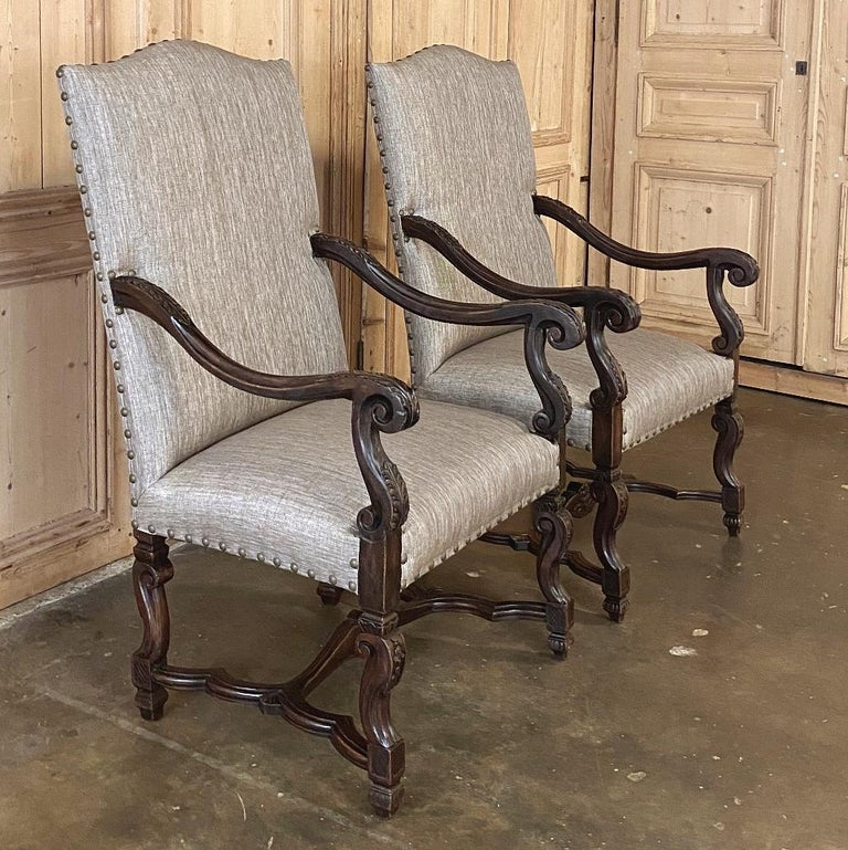 Pair of 19th Century French Louis XIV Walnut Fauteuils or Armchairs In Good Condition For Sale In Dallas, TX