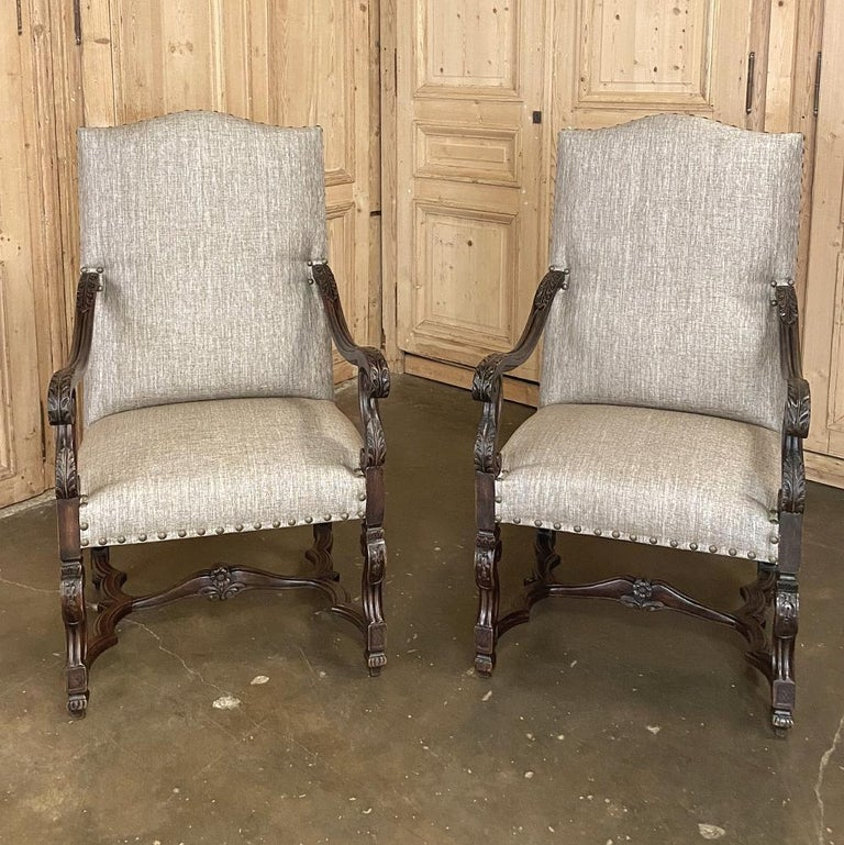 Fabric Pair of 19th Century French Louis XIV Walnut Fauteuils or Armchairs For Sale