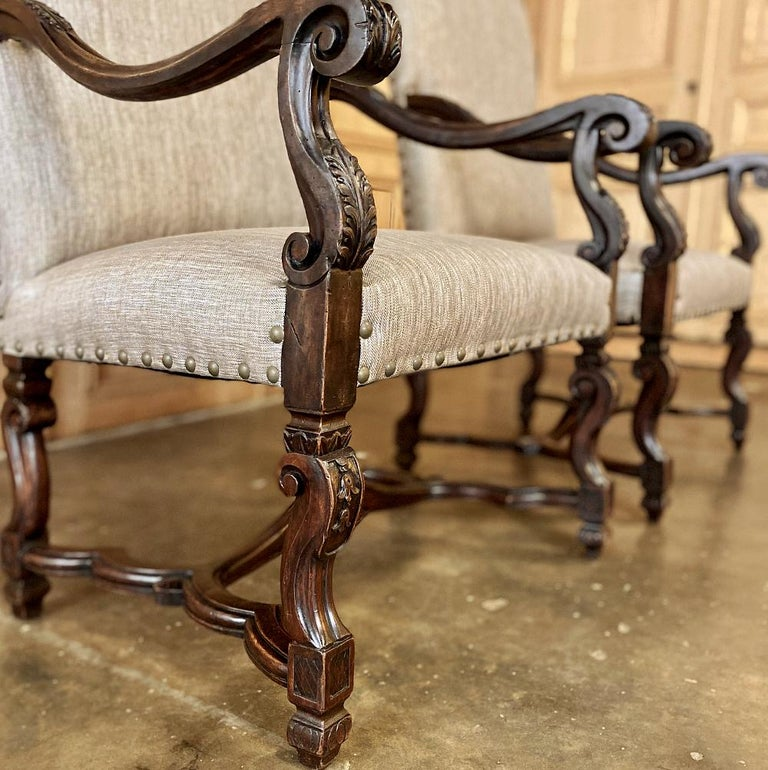 Pair of 19th Century French Louis XIV Walnut Fauteuils or Armchairs For Sale 2