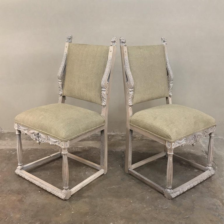 Pair of 19th Century French Louis XIV Whitewashed Chairs For Sale 4