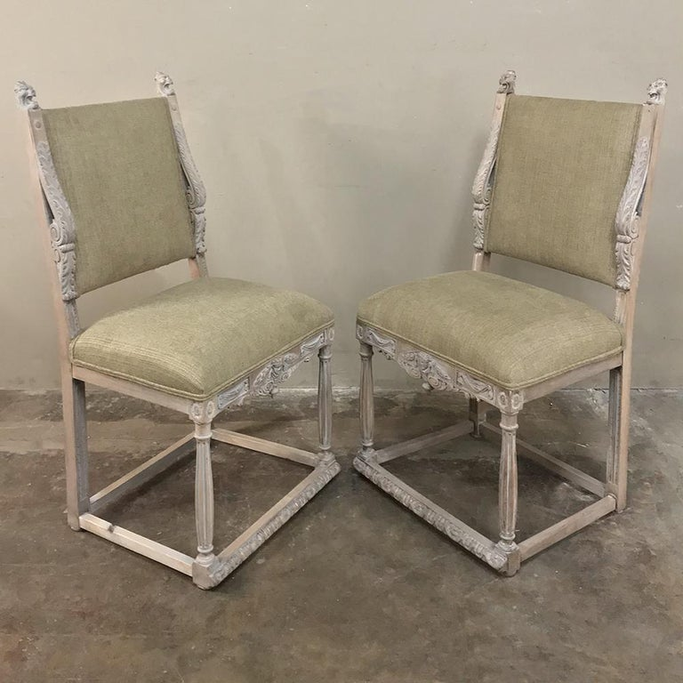 Late 19th Century Pair of 19th Century French Louis XIV Whitewashed Chairs For Sale