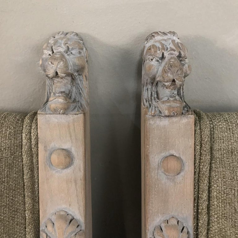 Fabric Pair of 19th Century French Louis XIV Whitewashed Chairs For Sale