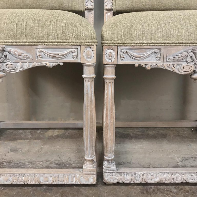 Pair of 19th Century French Louis XIV Whitewashed Chairs For Sale 1