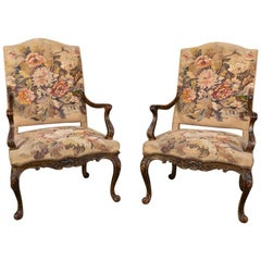 Pair of 19th Century French Louis XV Tapestry Armchairs