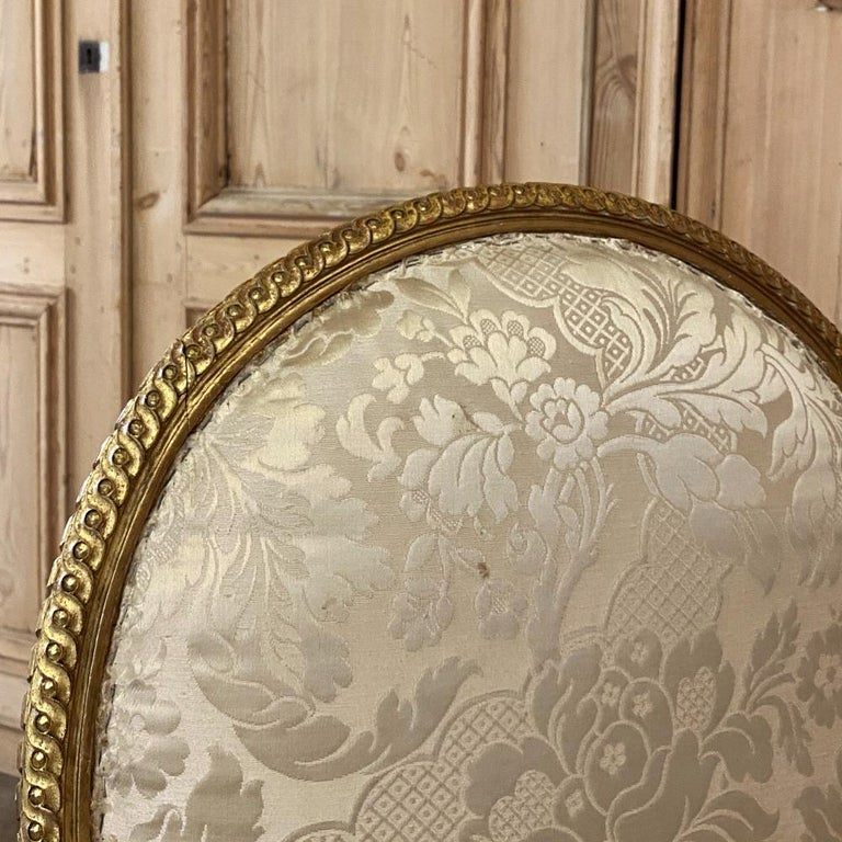 Pair of 19th Century French Louis XVI Gilded Armchairs, Fauteuils For Sale 6