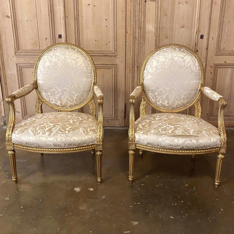 Hand-Crafted Pair of 19th Century French Louis XVI Gilded Armchairs, Fauteuils For Sale