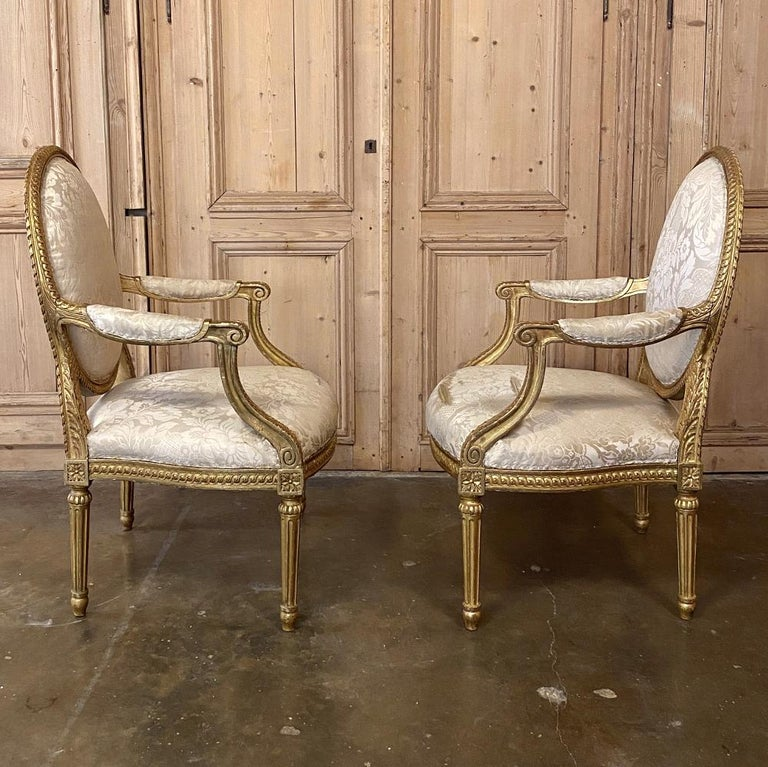 Pair of 19th Century French Louis XVI Gilded Armchairs, Fauteuils In Good Condition For Sale In Dallas, TX