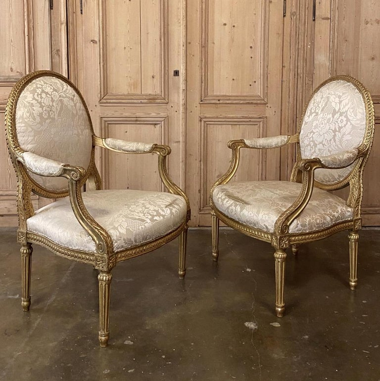 Late 19th Century Pair of 19th Century French Louis XVI Gilded Armchairs, Fauteuils For Sale