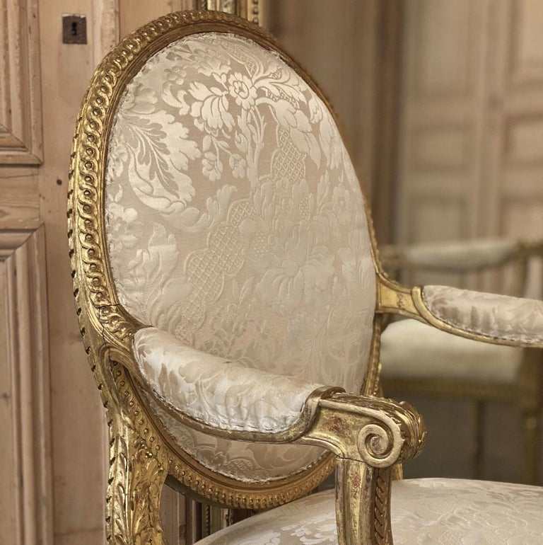 Giltwood Pair of 19th Century French Louis XVI Gilded Armchairs, Fauteuils For Sale