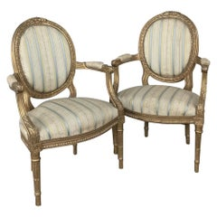 Pair of 19th Century French Louis XVI Giltwood Armchairs