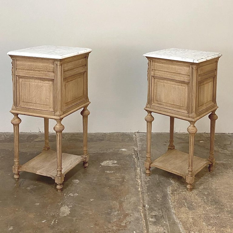Pair of 19th Century French Louis XVI Marble-Top Nightstands 6