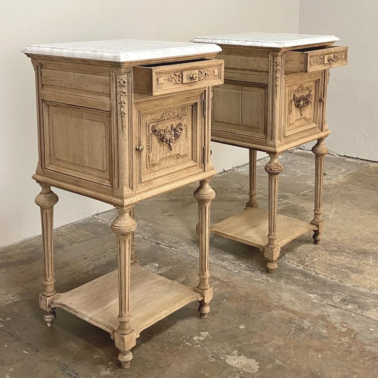 Pair of 19th Century French Louis XVI Marble-Top Nightstands In Good Condition In Dallas, TX