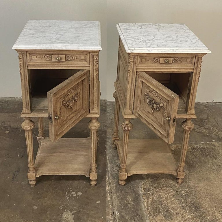 Late 19th Century Pair of 19th Century French Louis XVI Marble-Top Nightstands