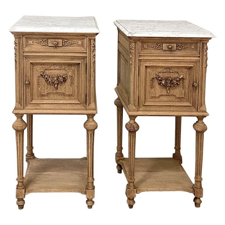 Pair of 19th Century French Louis XVI Marble-Top Nightstands