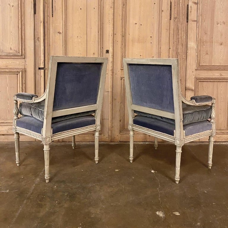 Pair of 19th Century French Louis XVI Painted Armchairs, Fauteuils In Good Condition For Sale In Dallas, TX