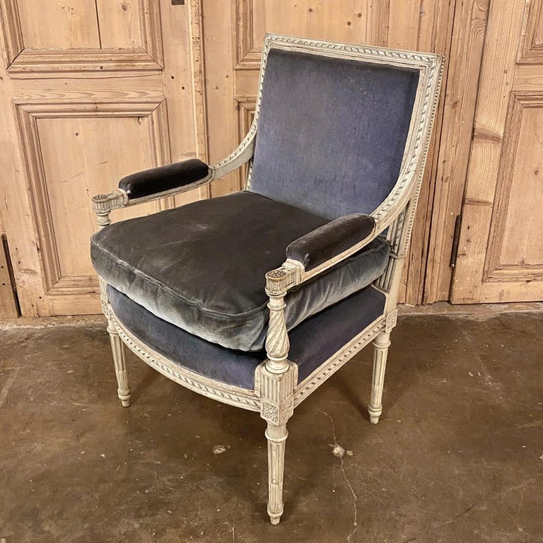 Late 19th Century Pair of 19th Century French Louis XVI Painted Armchairs, Fauteuils For Sale