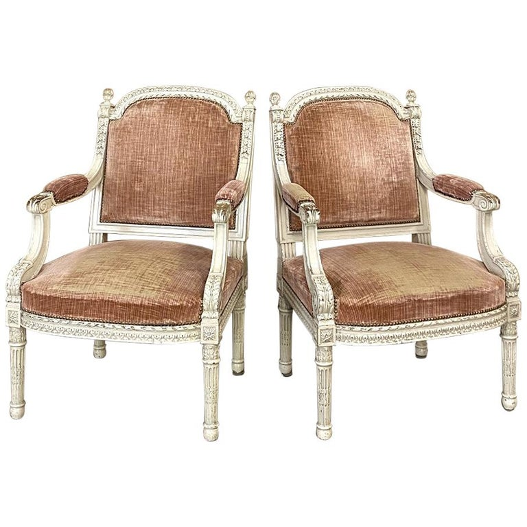 Pair of Louis XVI–Style Armchairs, 1890s, offered by Inessa Stewart's Antiques & Interiors