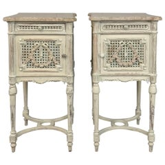 Pair of 19th Century French Louis XVI Painted Marble-Top Nightstands