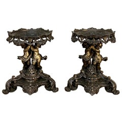 Pair 19th Century French Louis XVI Spelter Rose Bowl Stands
