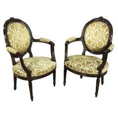Pair of 19th Century French Louis XVI Walnut Armchairs