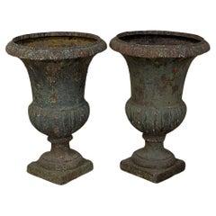 Pair 19th Century French Neoclassical Cast Iron Garden Vases, Jardinieres