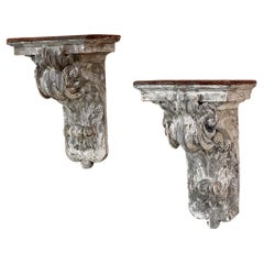 Pair 19th Century French Neoclassical Hand-Carved Painted Wall Sconces, Corbels