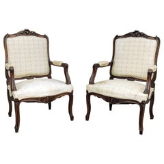 Pair 19th Century French Regence Walnut Armchairs, Fauteuils
