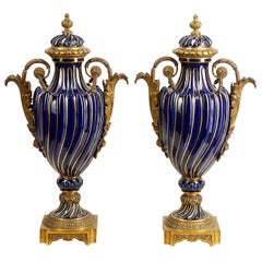 Pair of 19th Century French Sèvres Style Lidded Vases