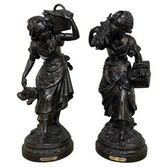 19th Century French Statues by Auguste Moreau, La Fermiere et La Bucheronn, Pair