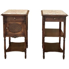 Pair 19th Century French Walnut Neoclassical Nightstands, ca. 1890