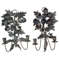 Pair 19th Century French Wrought Iron Wall Sconces