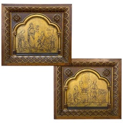 Pair of 19th Century Gothic Revival Framed Gilded Wood Carvings