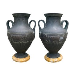 Pair of Grand Tour Neoclassical Revival Urns with Sienna Marble