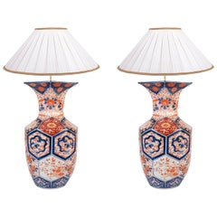 Pair 19th Century Imari Faced Vases or Lamps