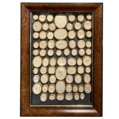 Pair of 19th Century Italian Grand Tour Intaglios in Burl Wood Frames