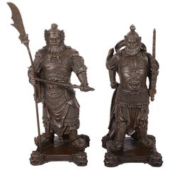 Pair 19th Century Japanese Bronze Statues of Samurai Warriors