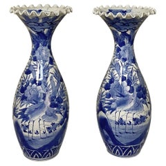 Pair 19th Century Japanese Export Blue and White Porcelain Vases