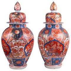 Pair of 19th Century Japanese Imari Lidded Vases