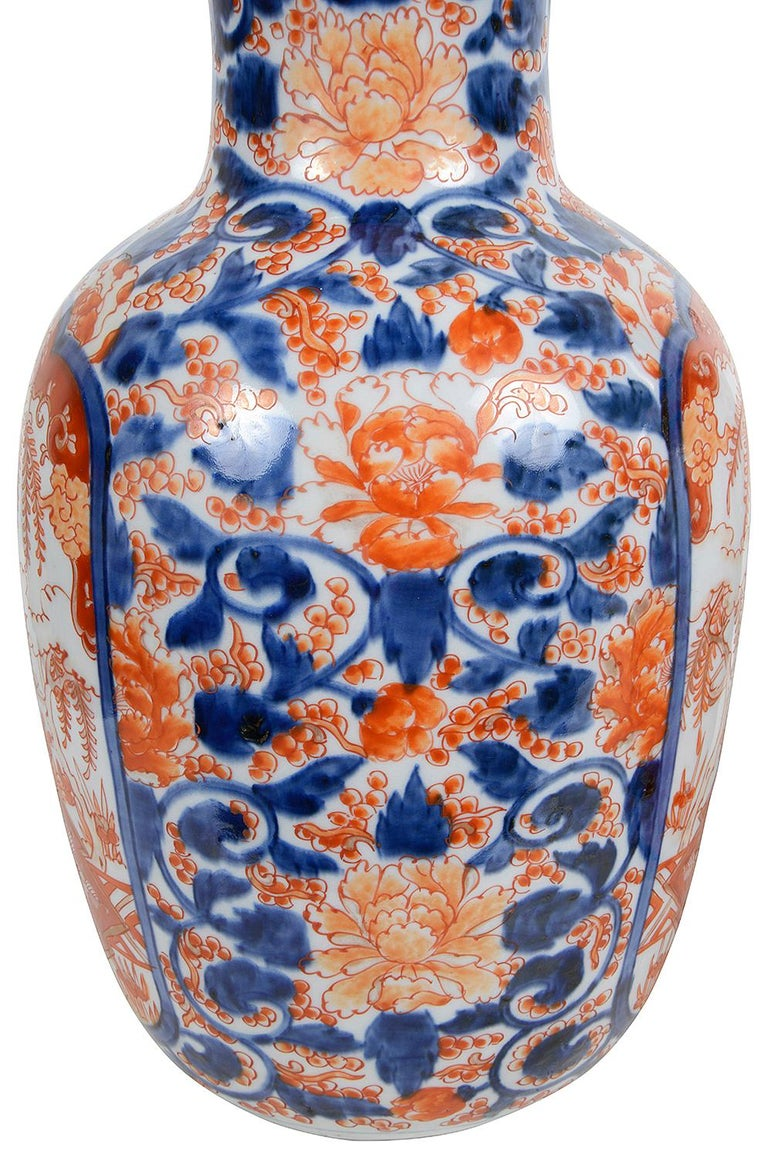 Hand-Painted Pair 19th Century Japanese Imari Vases / Lamps For Sale