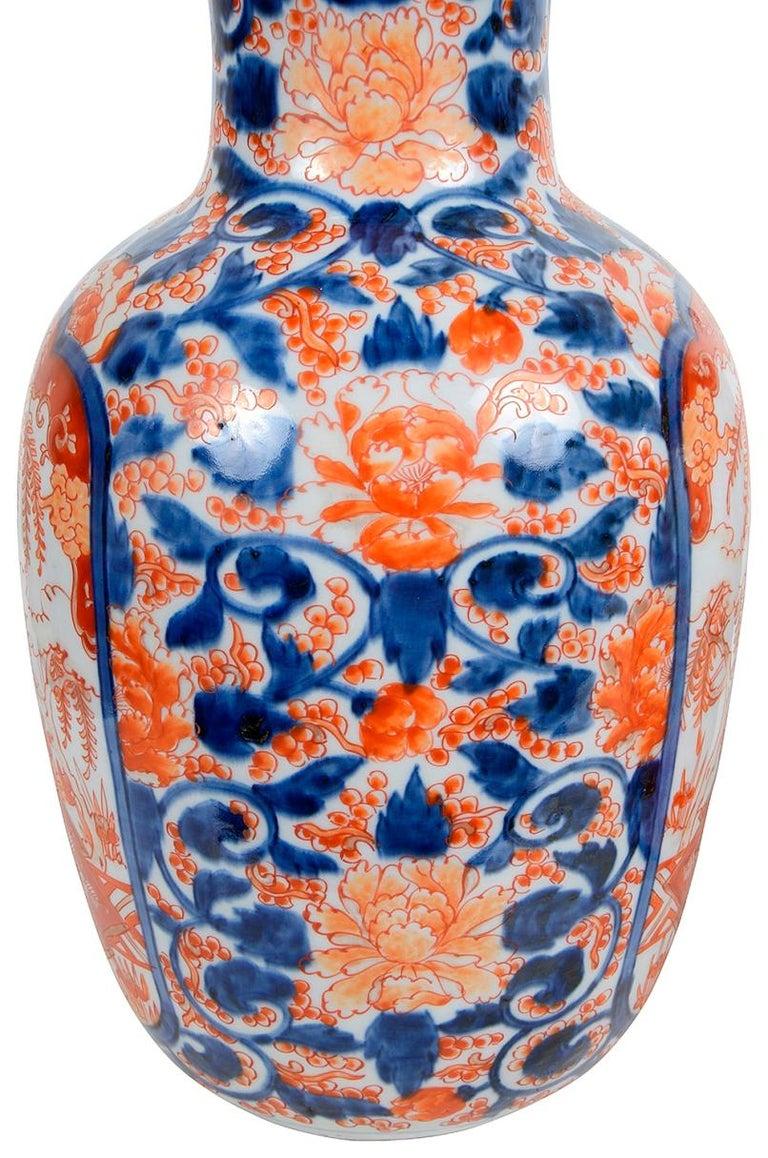 Porcelain Pair 19th Century Japanese Imari Vases / Lamps For Sale