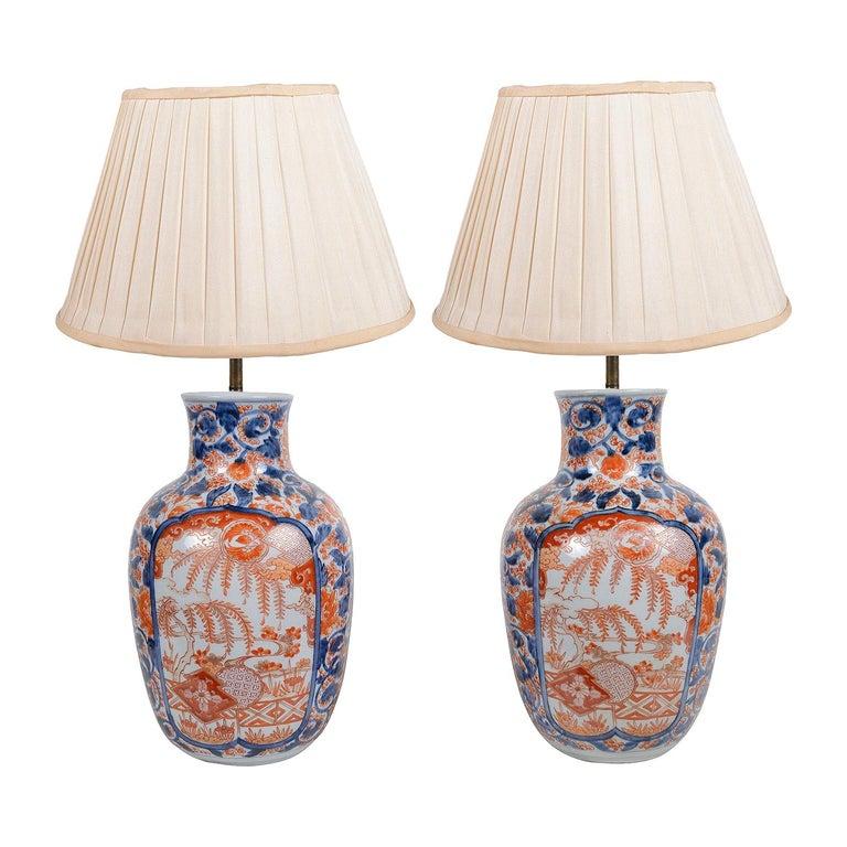Pair 19th Century Japanese Imari Vases / Lamps For Sale