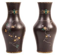 Pair of 19th Century Japanese Iron Overlay Vases