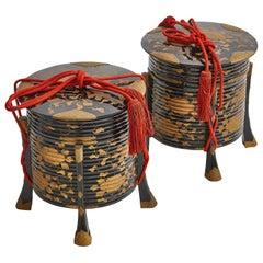 Pair of 19th Century Japanese Meiji Period Lacquer 'Hokai' Boxes