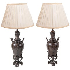 Pair 19th Century Japanese Style Bronze Vases Lamps