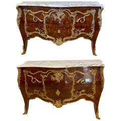 Pair 19th Century King and Queen Compatible Marble-Top Commodes or Chest